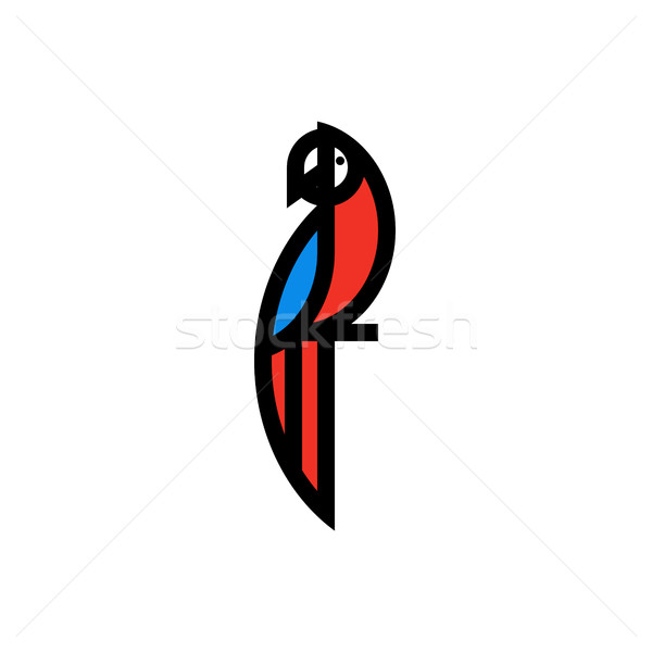Modern flat bold line icon or logo template of macaw parrot Stock photo © ussr