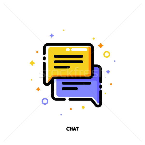 Icon of two speech bubbles for help chat and customer support Stock photo © ussr