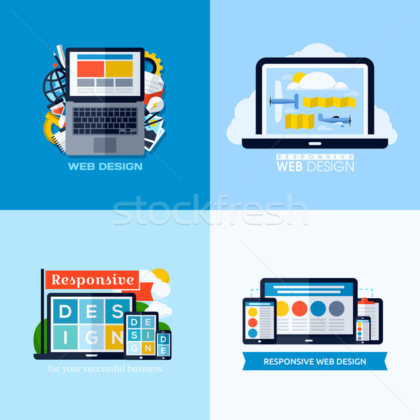 Modern flat vector concepts of responsive web design. Icons set for websites, mobile apps Stock photo © ussr
