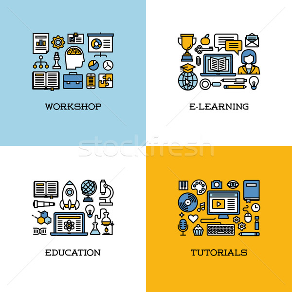 Flat line icons set of workshop, e-learning, education, tutorial Stock photo © ussr
