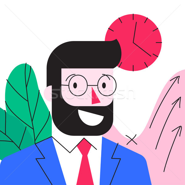 Cartoon character of smiling young bearded businessman in office Stock photo © ussr