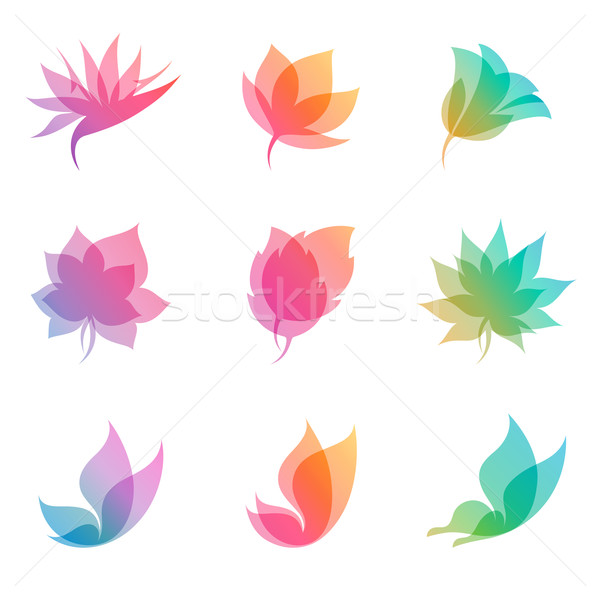 Stock photo: Pastel nature. Vector logo template set. Elements for design. Icon set.