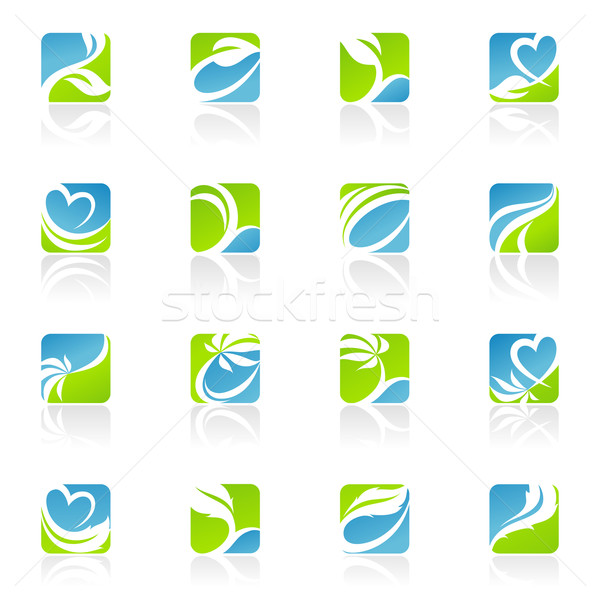 Stock photo: Leaves. Vector logo template set. Elements for design. Icon set.