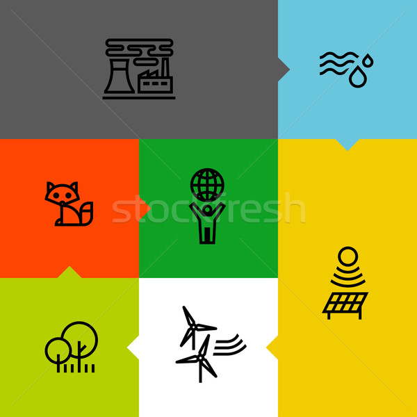 Ecology, green, and environment line icons set Stock photo © ussr