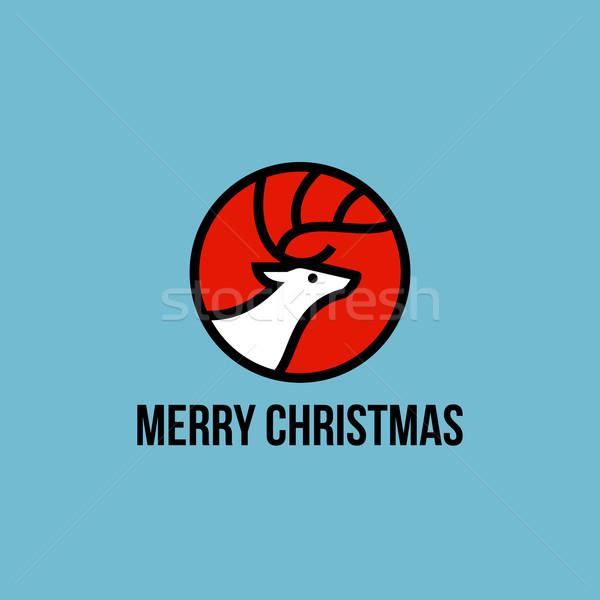 Christmas elk flat line icon Stock photo © ussr