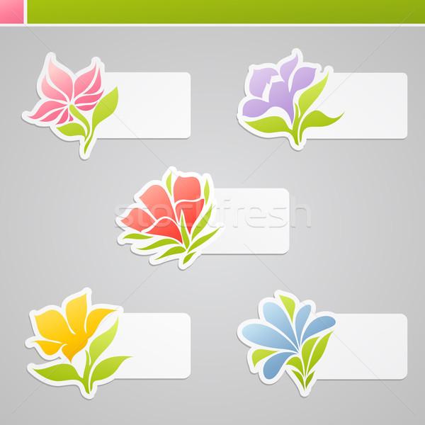 Stok fotoğraf: Ayarlamak · çiçekler · mesaj · vektör