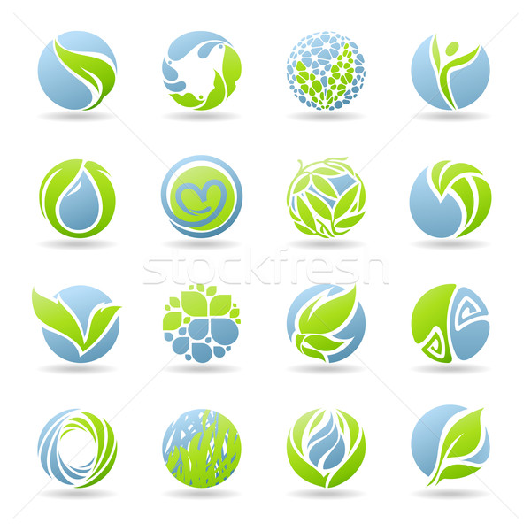 Drops and leaves. Vector logo template set. Elements for design. Stock photo © ussr