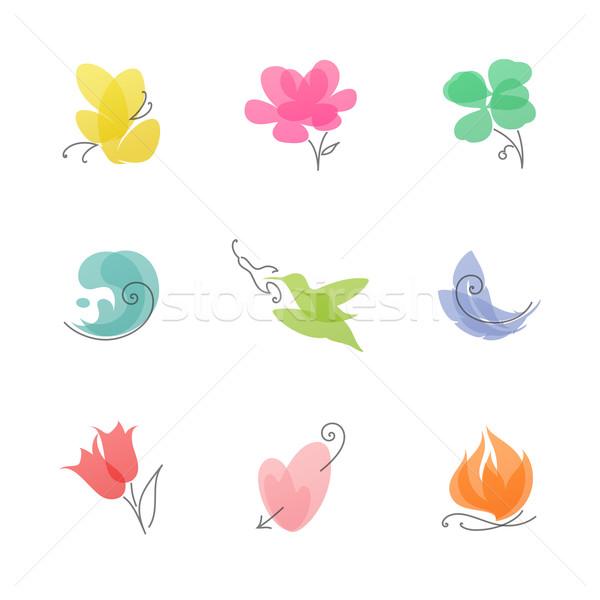 Multicolored nature – set of elegant vector design elements Stock photo © ussr