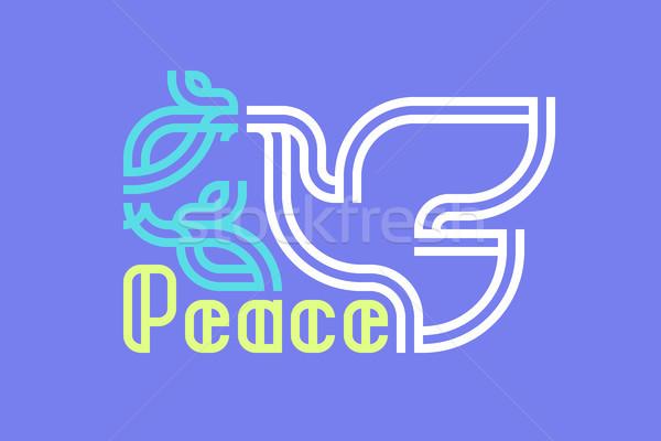 Pace giorno biglietto d'auguri retro colomba oliva Foto d'archivio © ussr