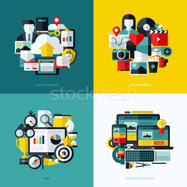 Photo stock: Vecteur · nuage · stockage · médias · sociaux · seo