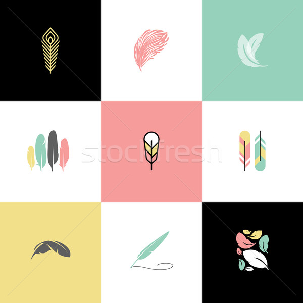 Feather. Set of modern logo design vector templates and icons Stock photo © ussr