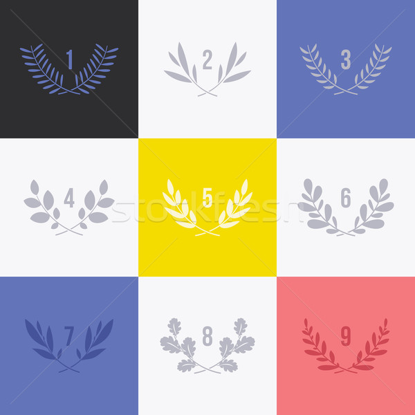 Set of minimalistic laurel wreaths. Collection of conceptual modern symbols for icons and logos Stock photo © ussr