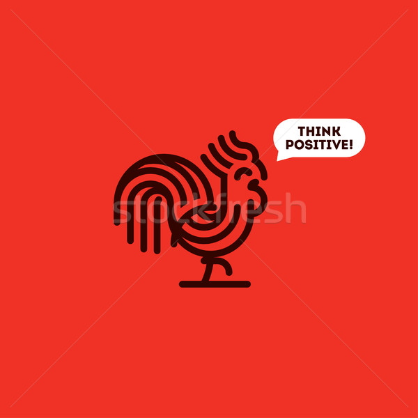 Think positive concept with cute walking rooster. Modern line vector illustration of striped cock on Stock photo © ussr