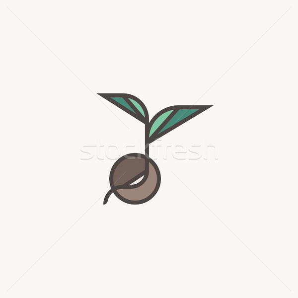 Fresh organic sprout. Modern line logo mark template with seed Stock photo © ussr