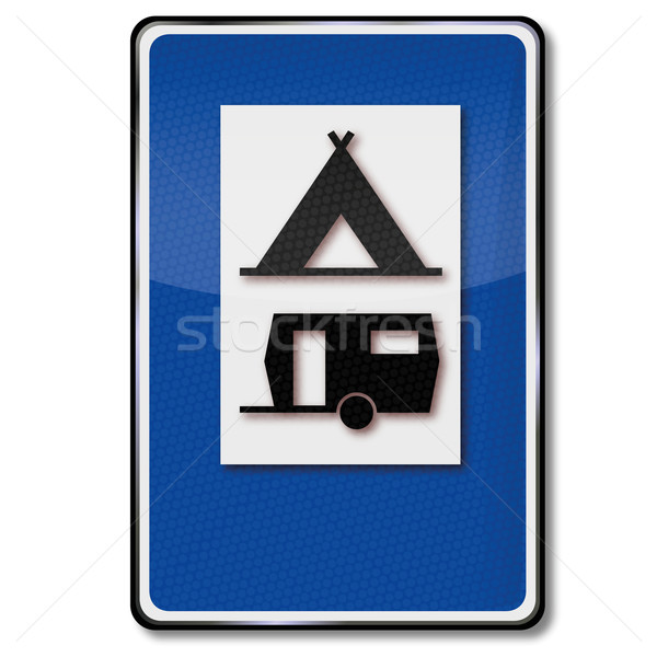 Traffic sign campsite, tents and caravans Stock photo © Ustofre9