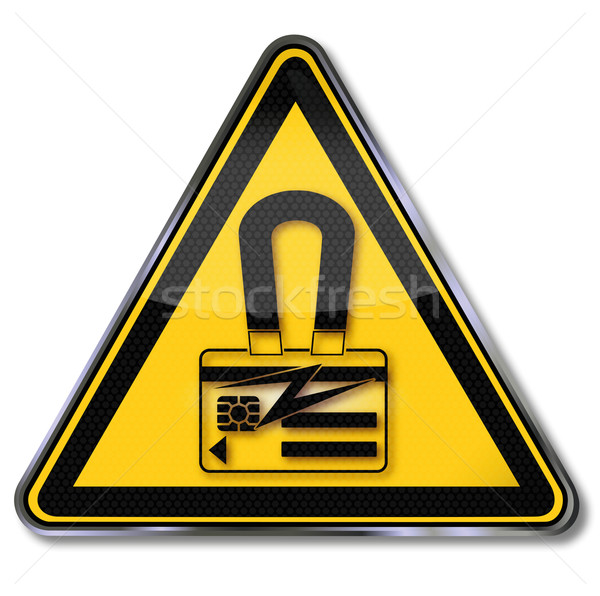 Danger sign warning of magnetic charge and smart card Stock photo © Ustofre9