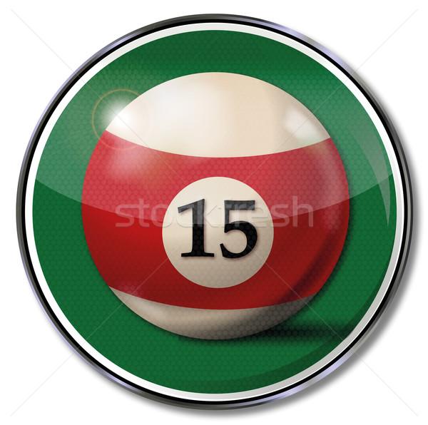 Felirat biliárd labda szám 15 sportok Stock fotó © Ustofre9