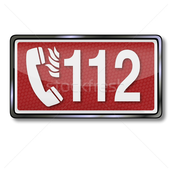 Fire safety sign with emergency number 112 in case of fire  Stock photo © Ustofre9