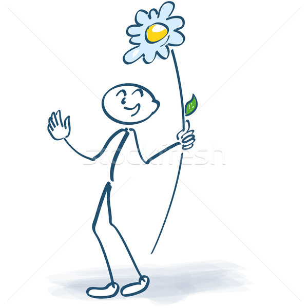 Stick figure with a flower lolly Stock photo © Ustofre9