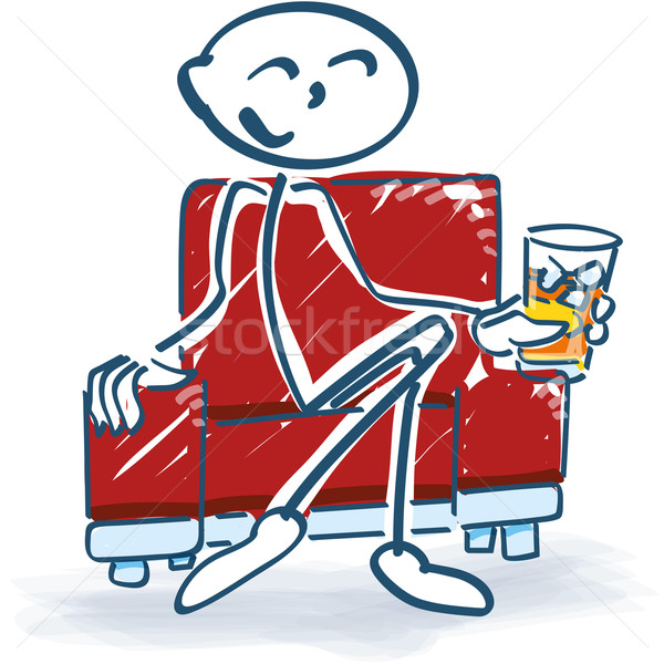Stick figure with a drink in an armchair Stock photo © Ustofre9
