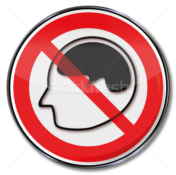 Shield with brain and prohibition of thought Stock photo © Ustofre9