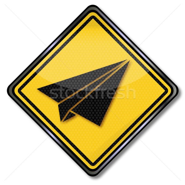 Sign with paper airplane Stock photo © Ustofre9