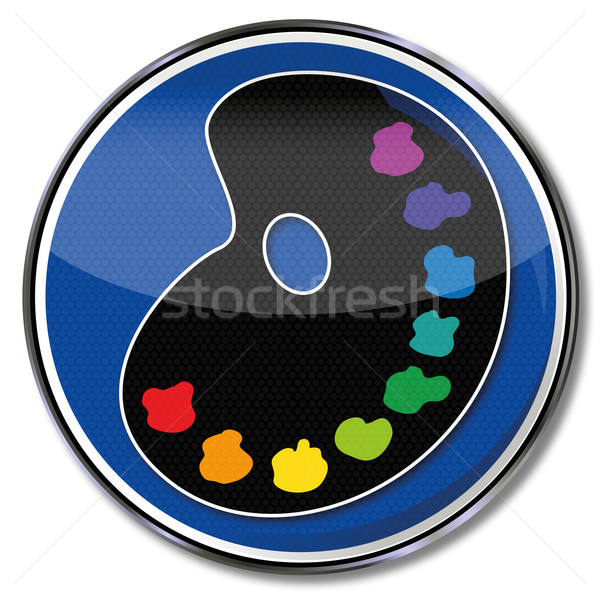 Blue shield paint palette and colors Stock photo © Ustofre9