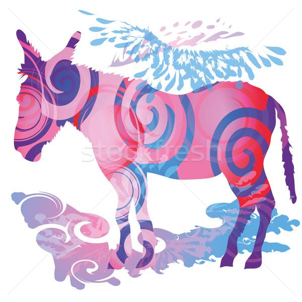 Colorato asino bellezza libertà pattern animale Foto d'archivio © Ustofre9