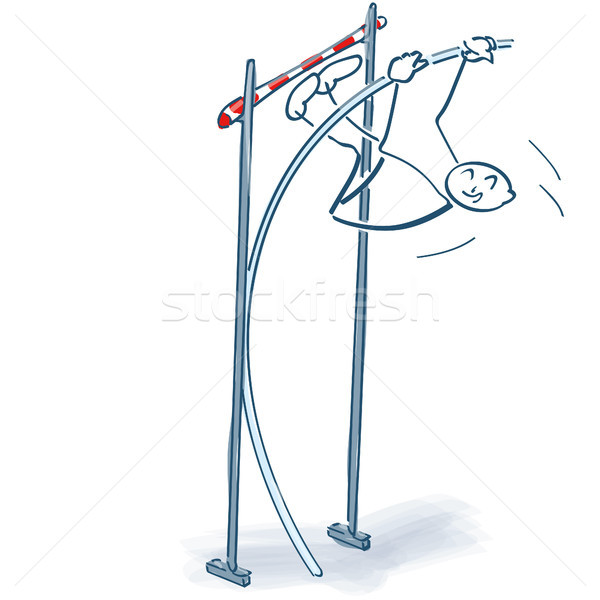 Stick figure jumps over a hurdle at jump-off Stock photo © Ustofre9
