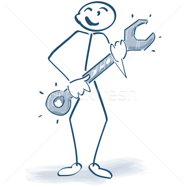Stick figure with a wrench Stock photo © Ustofre9