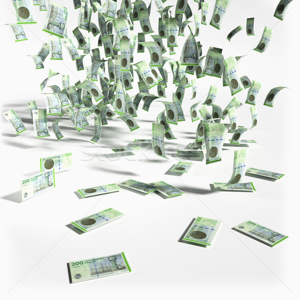 Money rain with 200 danish kroner notes Stock photo © Ustofre9
