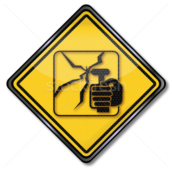 Traffic sign smash hammer into the window here  Stock photo © Ustofre9