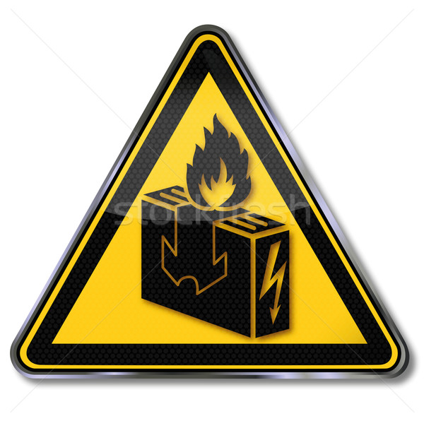 Danger sign warning do not dry any clothes on the electric heating Stock photo © Ustofre9