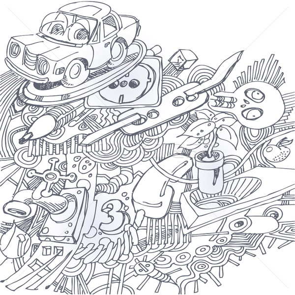 Ballpoint pen drawing with with car, electricity, ballpoint pen, skull and plant Stock photo © Ustofre9