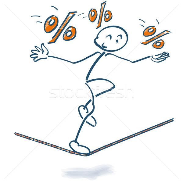 Pálcikaember kötél százalékok üzlet pénz pénzügy Stock fotó © Ustofre9