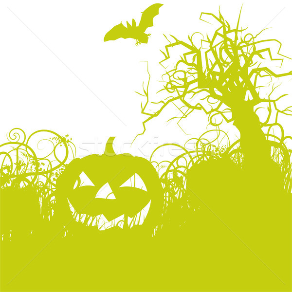 Halloween pumpkin with bat in the undergrowth Stock photo © Ustofre9