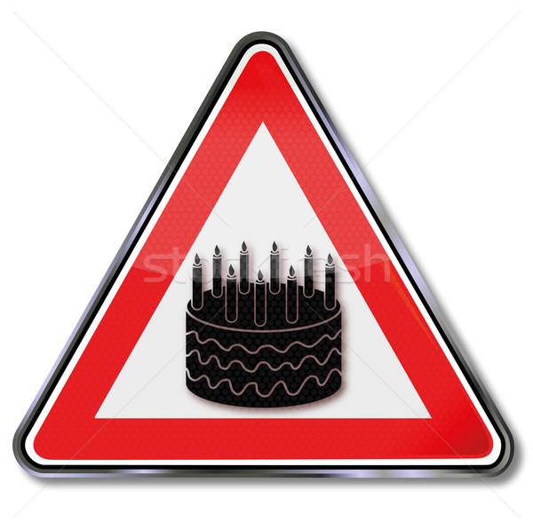 Sign with birthday cake Stock photo © Ustofre9