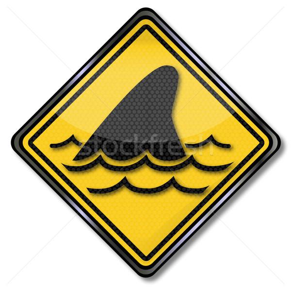 Foto stock: Assinar · tubarão · barbatana · água · natureza · mar