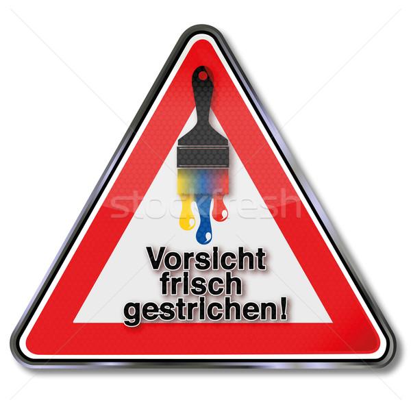 Figyelmeztető jel frissen festett terv festmény piros Stock fotó © Ustofre9