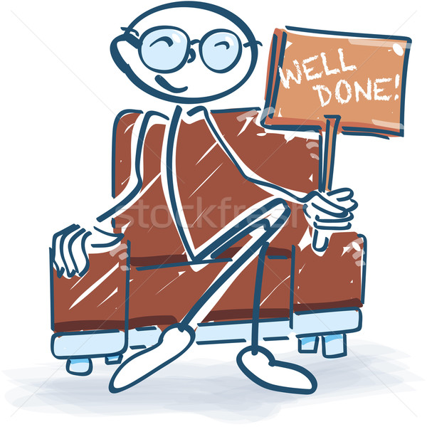 Stick figure in the armchair and well done Stock photo © Ustofre9