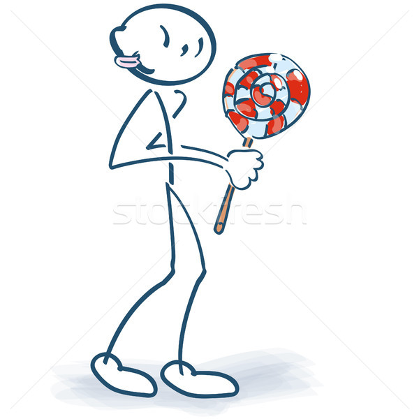 Stick figure with a sweet lollipop Stock photo © Ustofre9