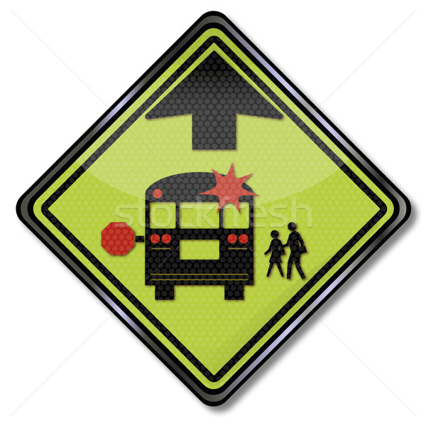 Warning sign school bus Stock photo © Ustofre9