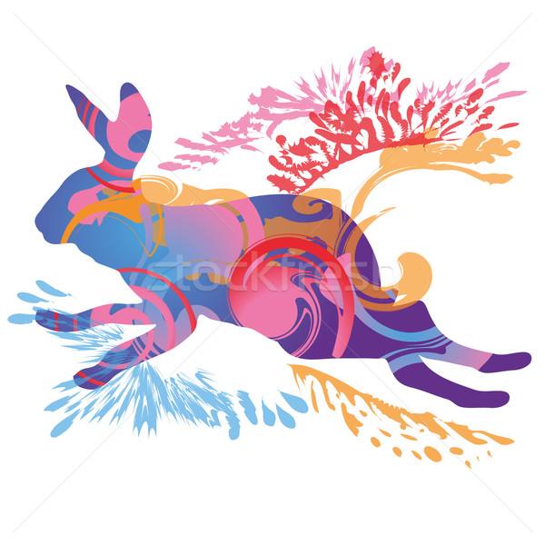 Ugrik nyúl húsvét tavasz természet terv Stock fotó © Ustofre9
