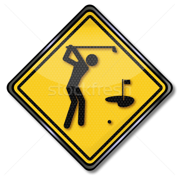 Sign golfer aims at golf green Stock photo © Ustofre9