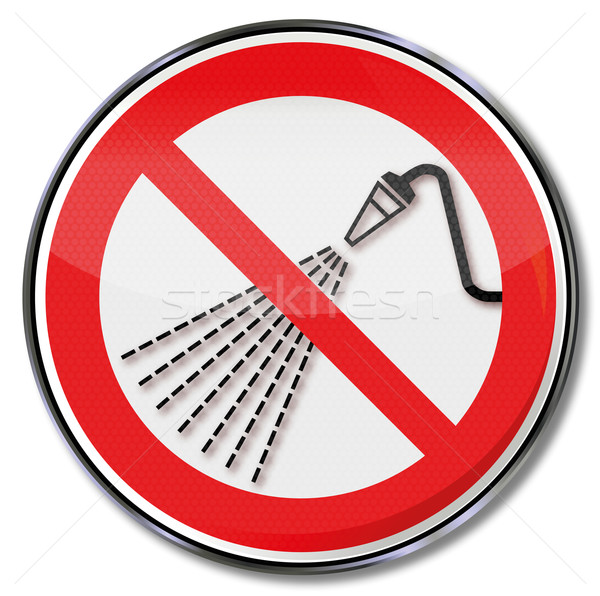 Stock photo: Prohibition sign do not spray with water, nozzle, and can radiate
