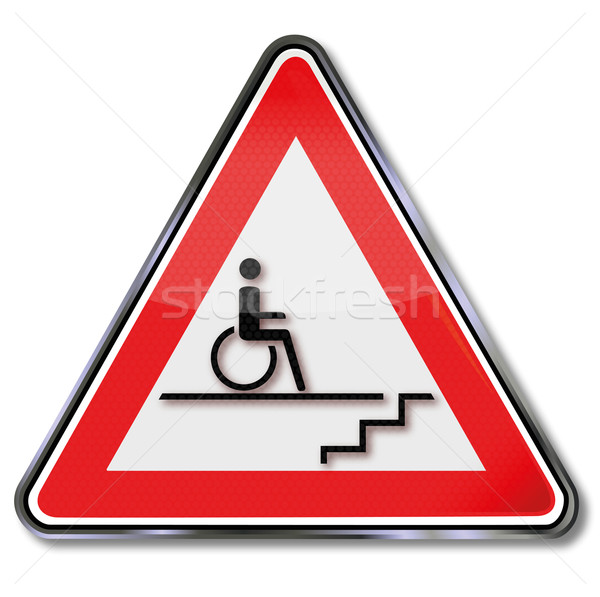 Sign disability wheelchair by stairs Stock photo © Ustofre9