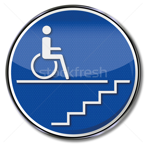 Sign handicap wheelchair by a staircase  Stock photo © Ustofre9