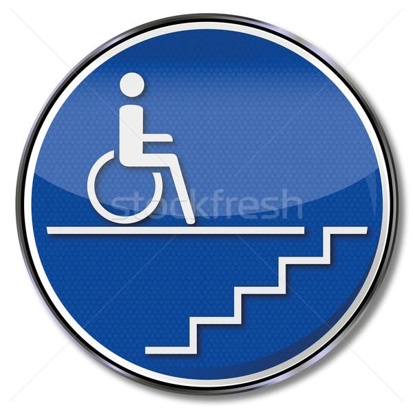 Podpisania handicap wózek schody pomoc piętrze Zdjęcia stock © Ustofre9