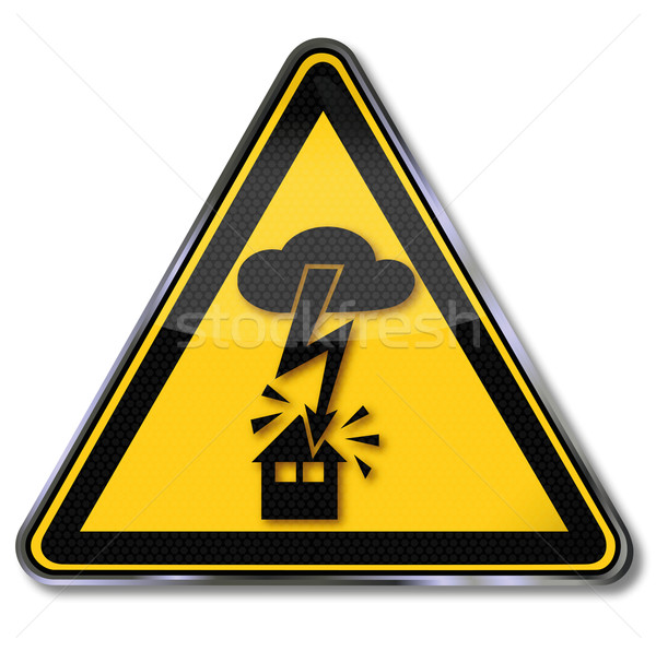 Danger sign warning of electric shock from lightning into the house  Stock photo © Ustofre9
