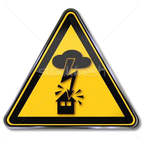 Segno di pericolo allarme elettrici shock fulmini casa Foto d'archivio © Ustofre9